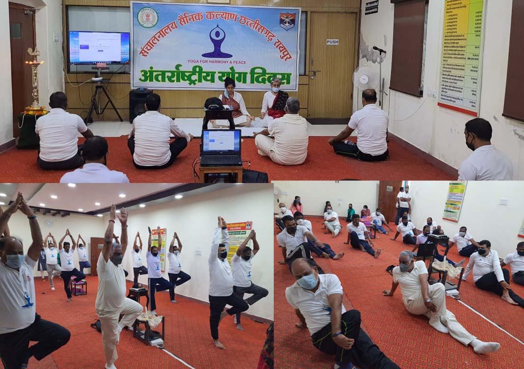 रायपुर : छत्तीसगढ़ के भूतपूर्व सैनिकों ने मनाया अंतर्राष्ट्रीय योग दिवस