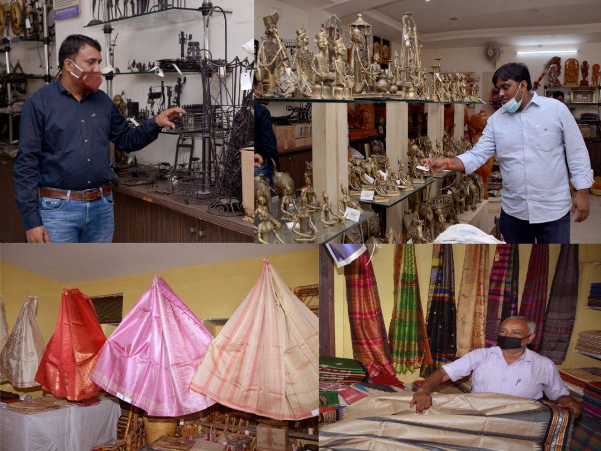 रायपुर :  पंडरी हाट में लगी हाथकरघा और हस्तशिल्प कला प्रदर्शनी बना आकर्षण का केन्द्र :  लोगों को लुभा रहे हैं पारंपरिक हाथकरघा वस्त्र और ग्रामोद्योग के उत्पाद